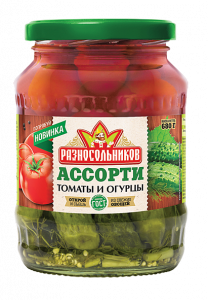 Ассорти маринованное (огурцы и томаты) (ГОСТ) 680гр.